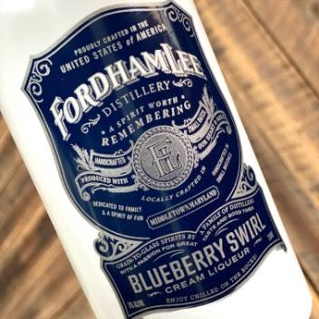 Blueberry Swirl Cream Liquor Label Close Up