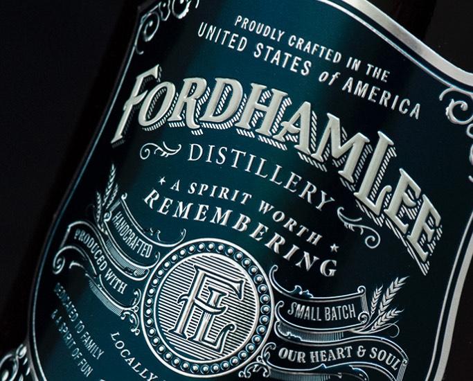 Fordham Lee Bourbon Whiskey Label Close-up