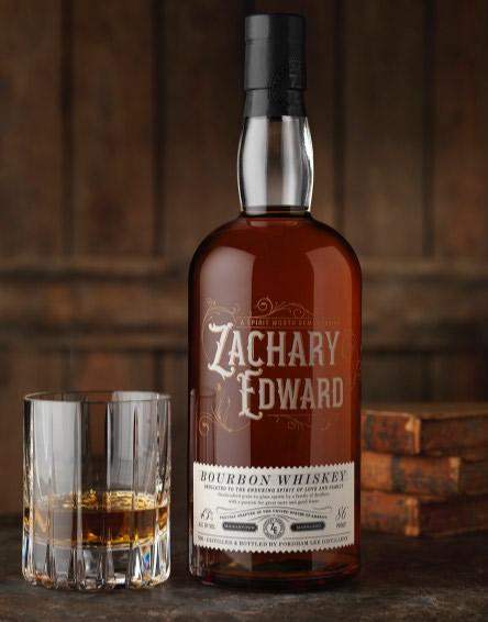 Zachary Edward Bourbon Whiskey Bottle And Glass